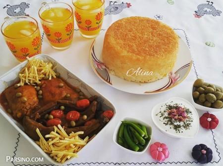 پخت خورش بادمجان با گوشت , طرز تهیه خورش بادمجان , خورشت بادمجان با مرغ