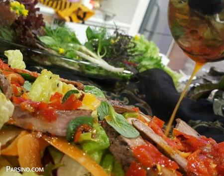آموزش سالاد استیک با گوشت , طرز تهیه سالاد استیک , سالاد استیک با سس تای