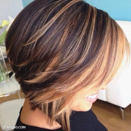 رنگ مو , رنگ موی زنانه , رنگ مو 2018 , رنگ مو کاراملی برای مو کوتاه