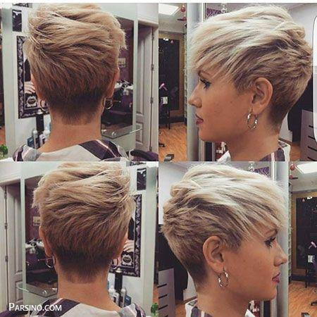مدل مو کوتاه رنگ شده , مدل مو رنگ شده , مو کوتاه کرده