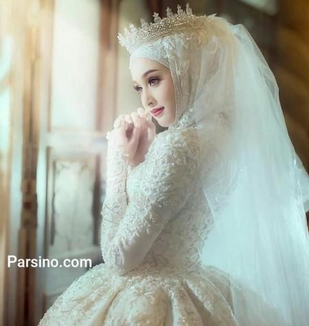 لباس عروس شیک , مدل لباس عروس با حجاب , لباس عروس آستین دار