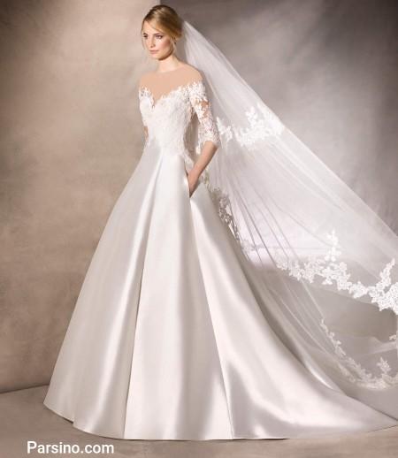 لباس عروس پرنسسی گیپور دار , مدل لباس عروس دامن بزرگ
