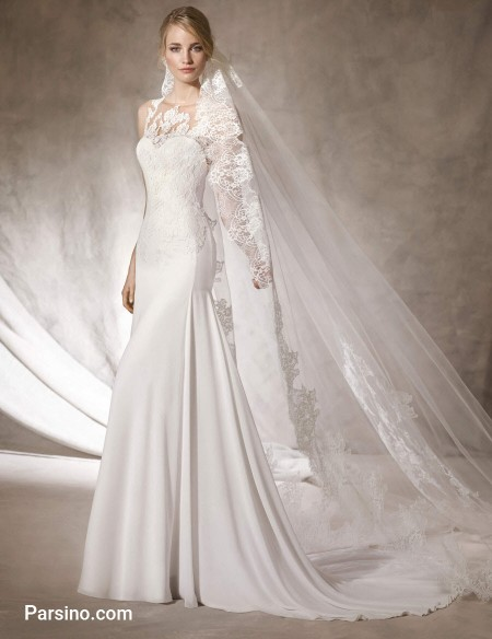 مدل لباس عروس شیک اسپانیایی , لباس عروس دنباله دار
