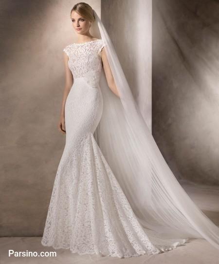 لباس عروس جدید , مدل لباس عروس اسپانیایی , لباس عروس دنباله دار