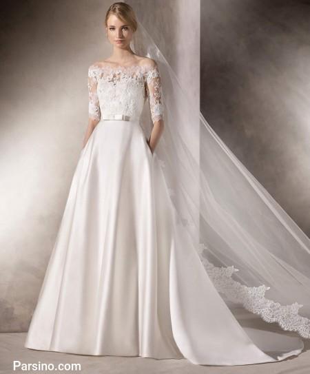 لباس عروس آستین گیپور , مدل لباس عروس پوشیده , لباس عروس دنباله دار