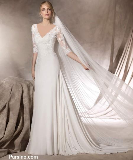 لباس عروس خارجی , مدل لباس عروس شیک , لباس عروس دنباله دار