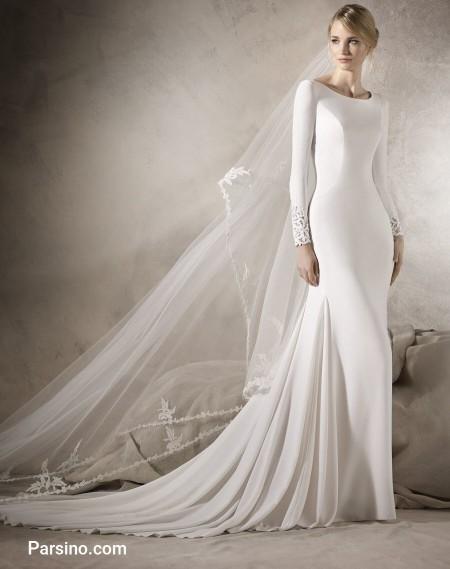 مدل لباس عروس اسپانیایی جدید , لباس عروس دنباله دار بلند