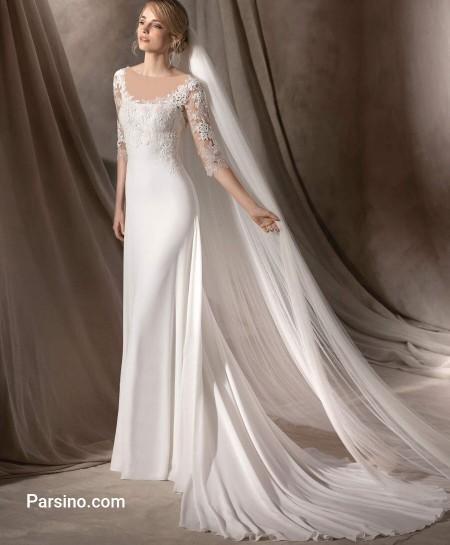 مدل لباس عروس لاکچری , مدل لباس عروس گیپور , لباس عروس تور دنباله دار