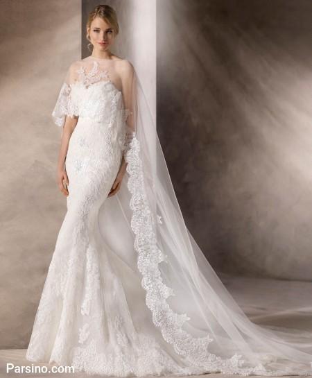 مدل لباس عروس گیپور و حریر , لباس عروس تور دنباله دار شیک