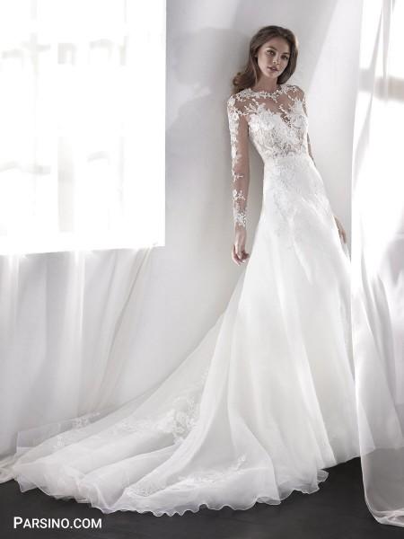 لباس عروس لاکچری , مدل لباس عروس پوشیده گیپور , لباس عروس دنباله دار