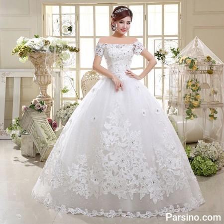 لباس عروس پرنسسی , مدل لباس عروس کره ایی , لباس عروس دامن پفی