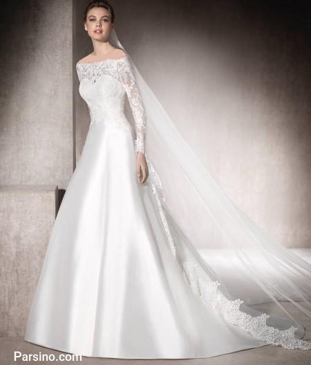 لباس عروس دنباله دار , لباس عروس خارجی , لباس عروس گیپور