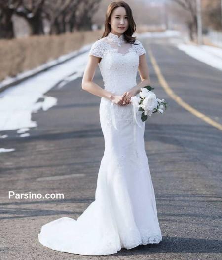 مدل لباس عروس بدون آستین کره ایی شیک