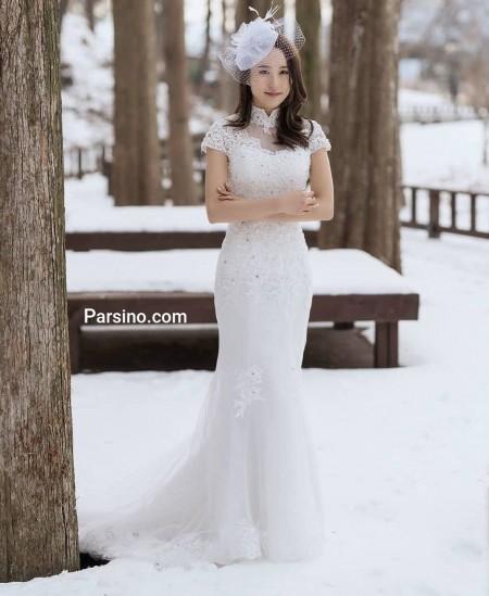 لباس عروس بدون آستین کره ایی زیبا