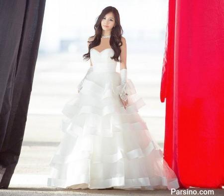لباس عروس دکلته کره ایی زیبا دامن پفی