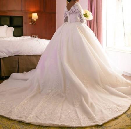 لباس عروس پرنسسی , مدل لباس عروس دنباله دار 2018