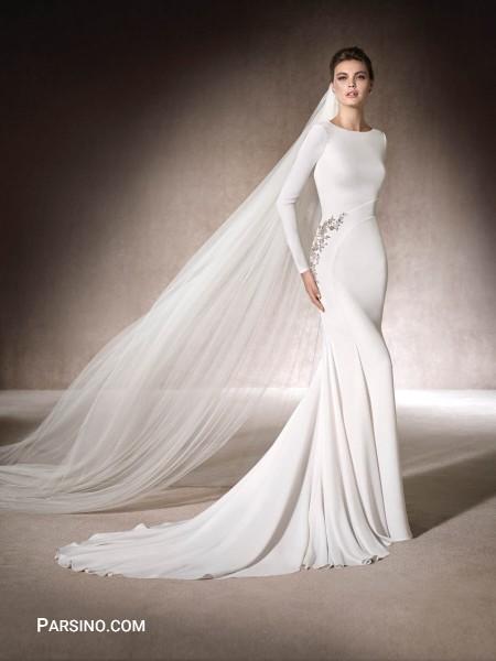 مدل لباس عروس گیپور و تور , لباس عروس دنباله دار