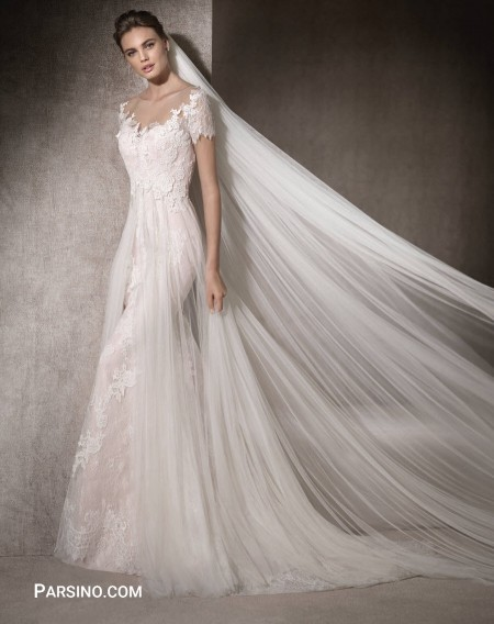عکس لباس عروس گیپور و تور , لباس عروس دنباله دار